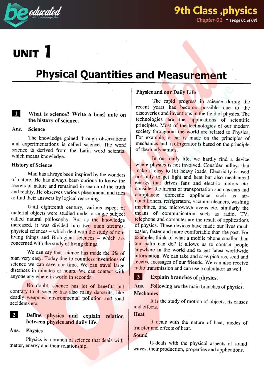 Chapter 1 Physics 9th Class Notes - Matric Part 1 Notes