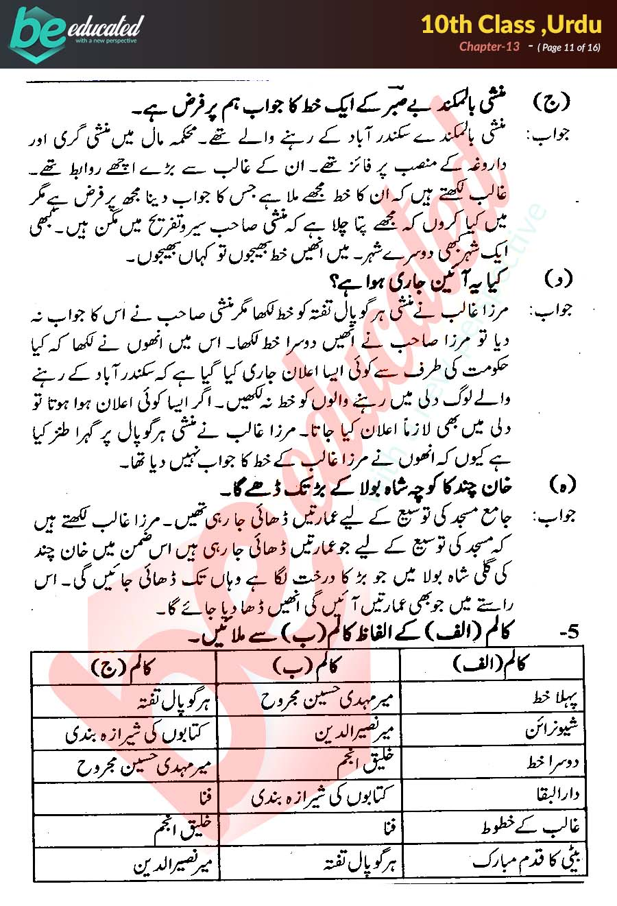 Chapter 13 Urdu 10th Class Notes - Matric Part 2 Notes