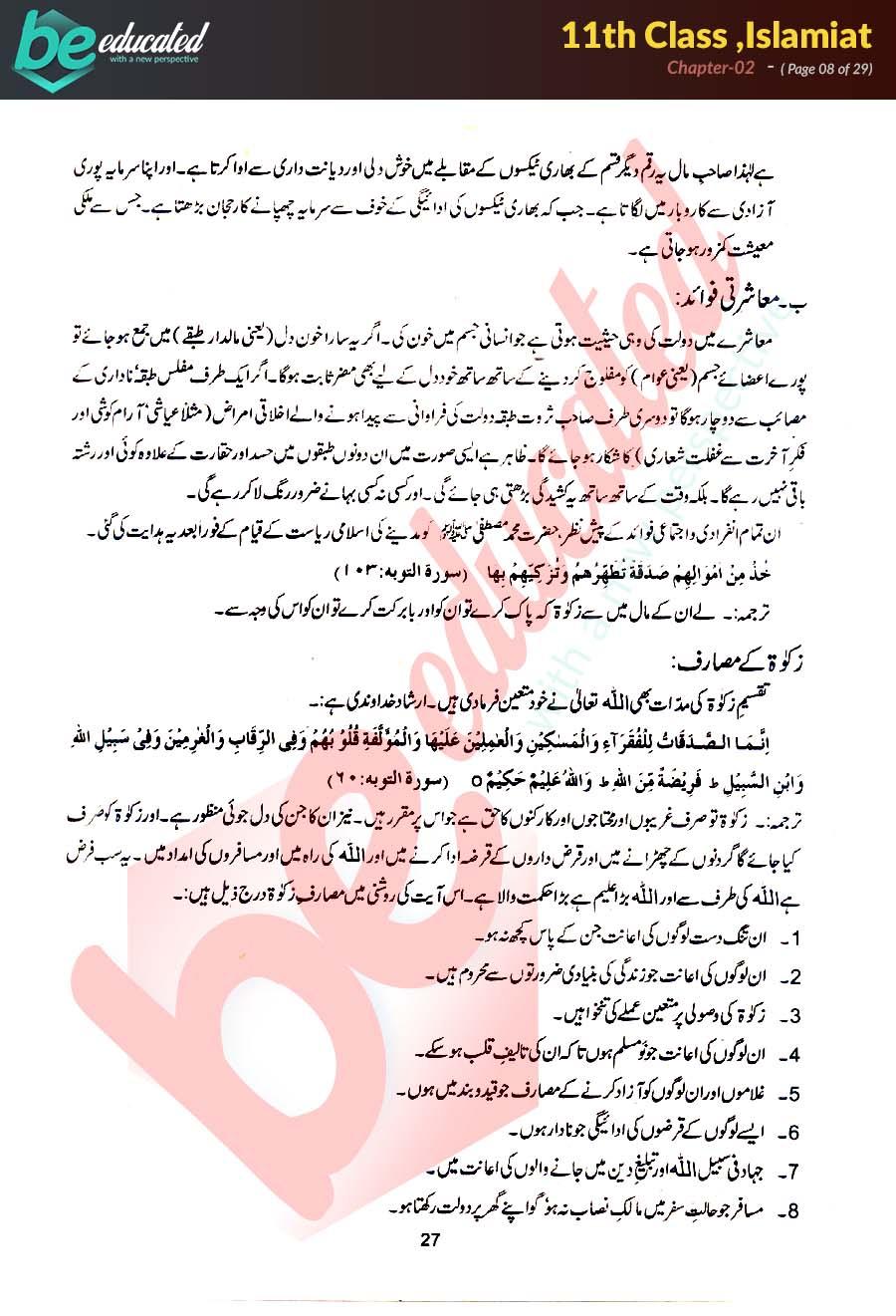 Chapter 2 Islamiat FSc Part 1 Notes - Inter Part 1 Notes
