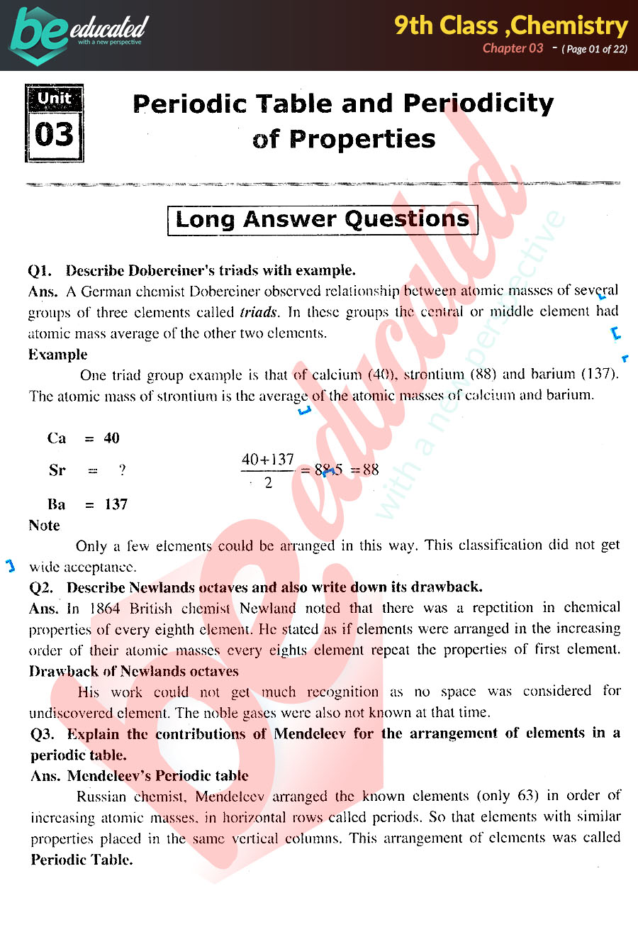 Chapter 3 Chemistry 9th Class Notes - Matric Part 1 Notes