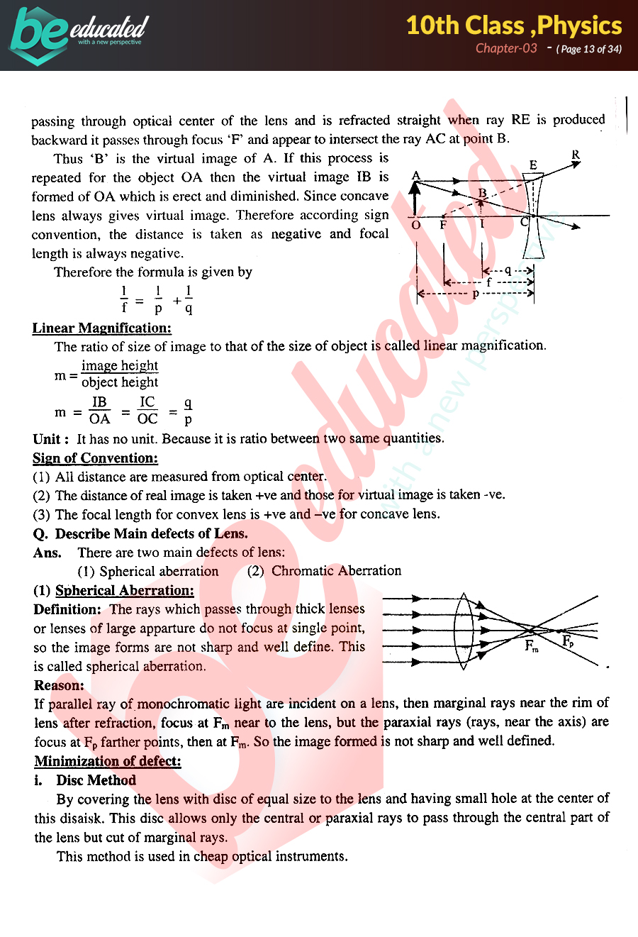 Chapter 3 Physics 10th Class Notes - Matric Part 2 Notes