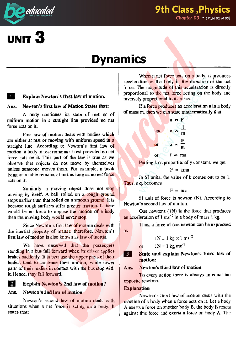 Chapter 3 Physics 9th Class Notes - Matric Part 1 Notes