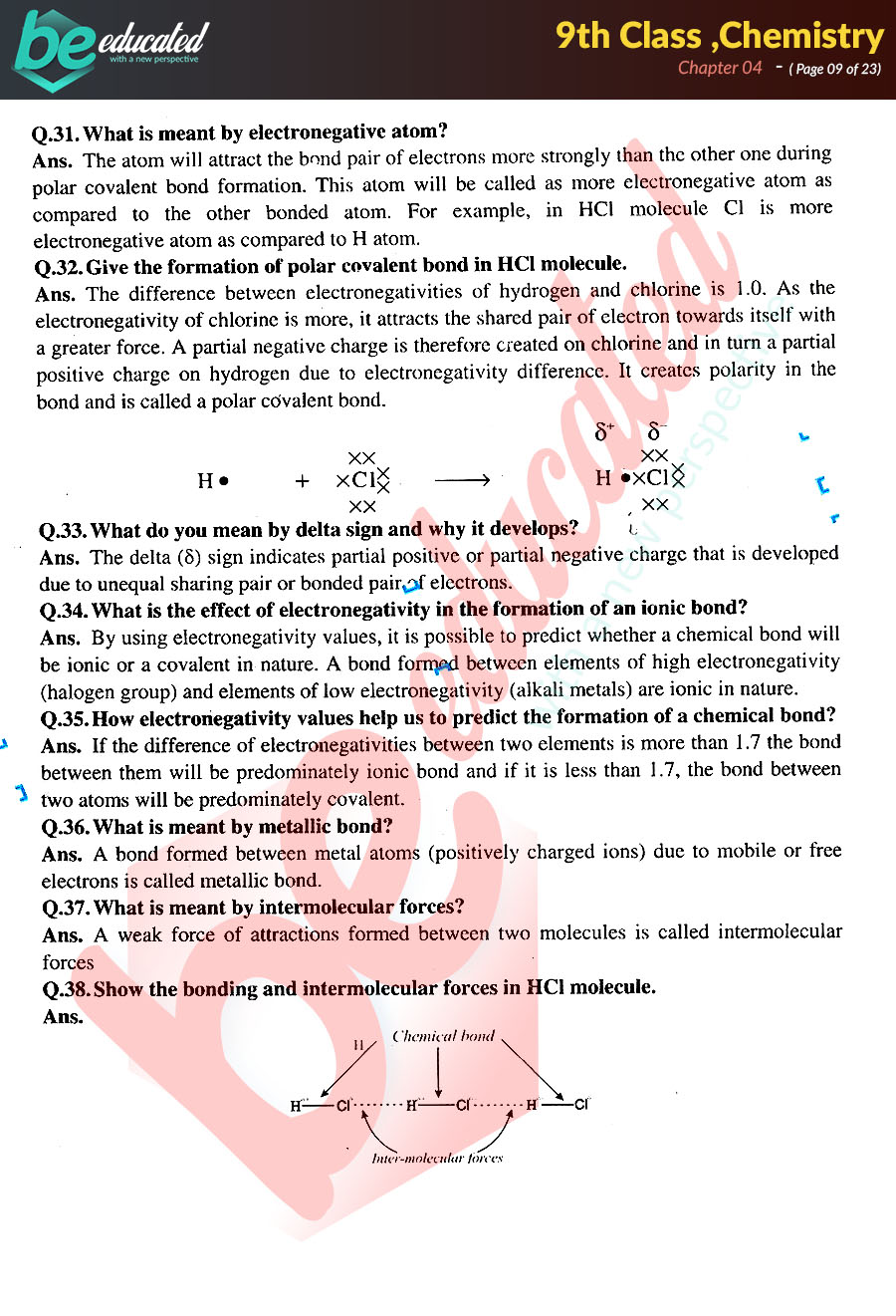 Chapter 4 Chemistry 9th Class Notes - Matric Part 1 Notes