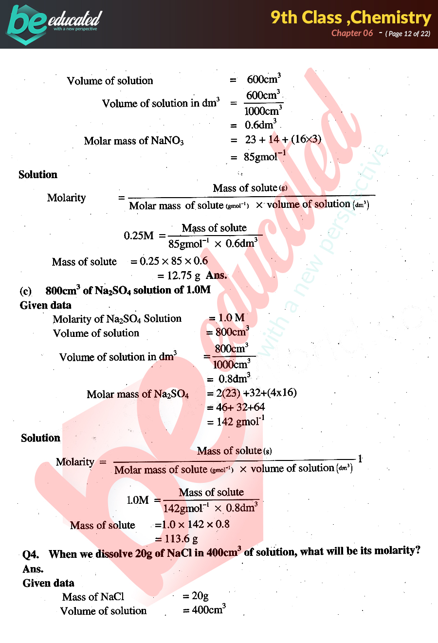 Chapter 6 Chemistry 9th Class Notes - Matric Part 1 Notes