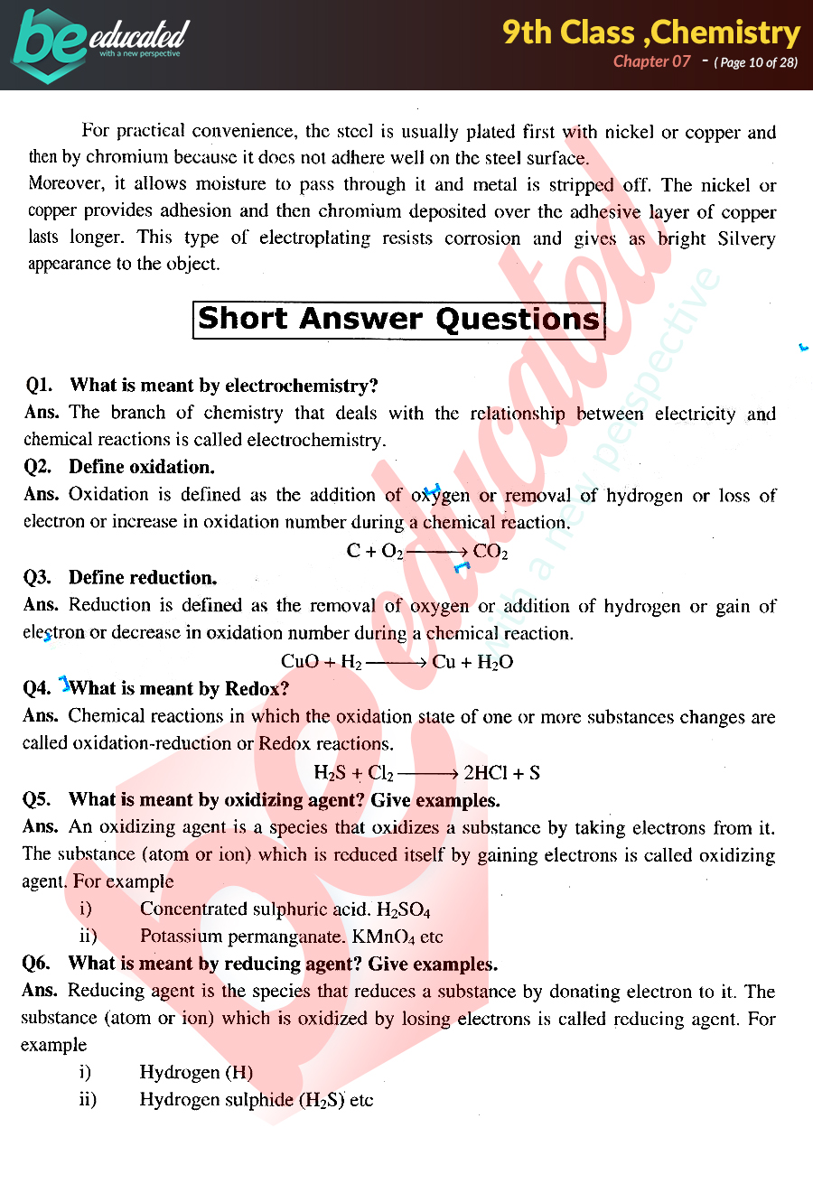 Chapter 7 Chemistry 9th Class Notes - Matric Part 1 Notes