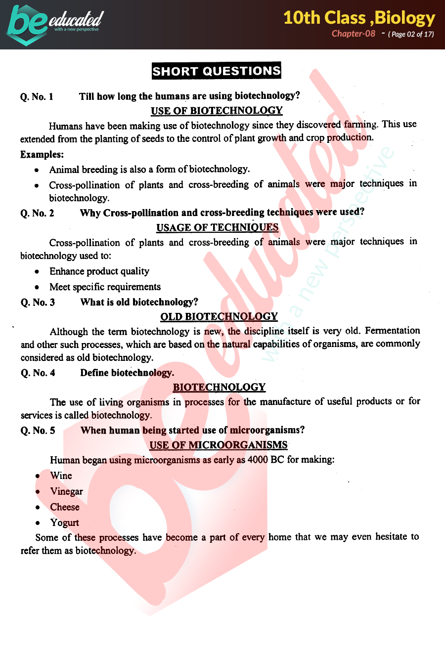 Chapter 8 Biology 10th Class Notes - Matric Part 2 Notes