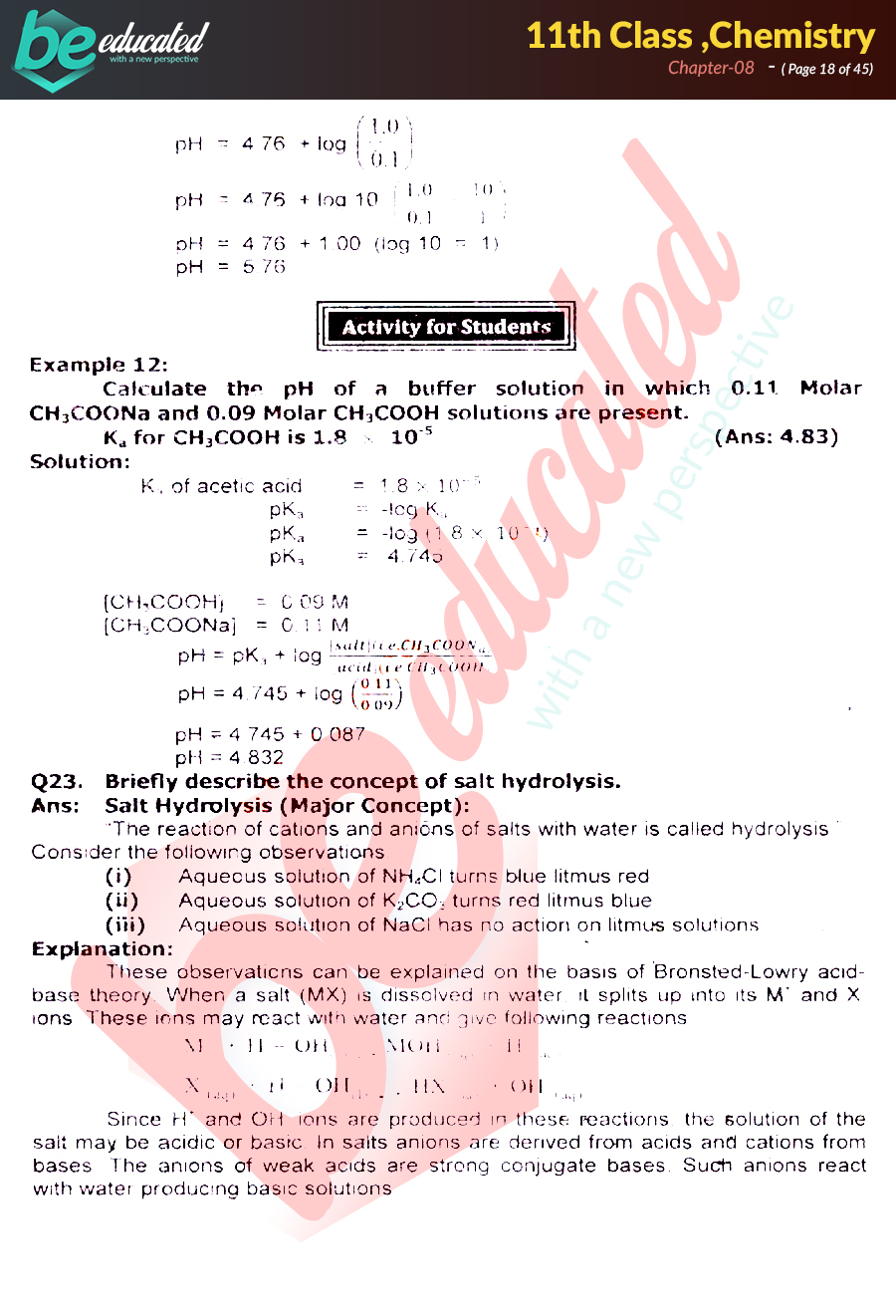 Chapter 8 Chemistry FSc Part 1 Notes - Inter Part 1 Notes