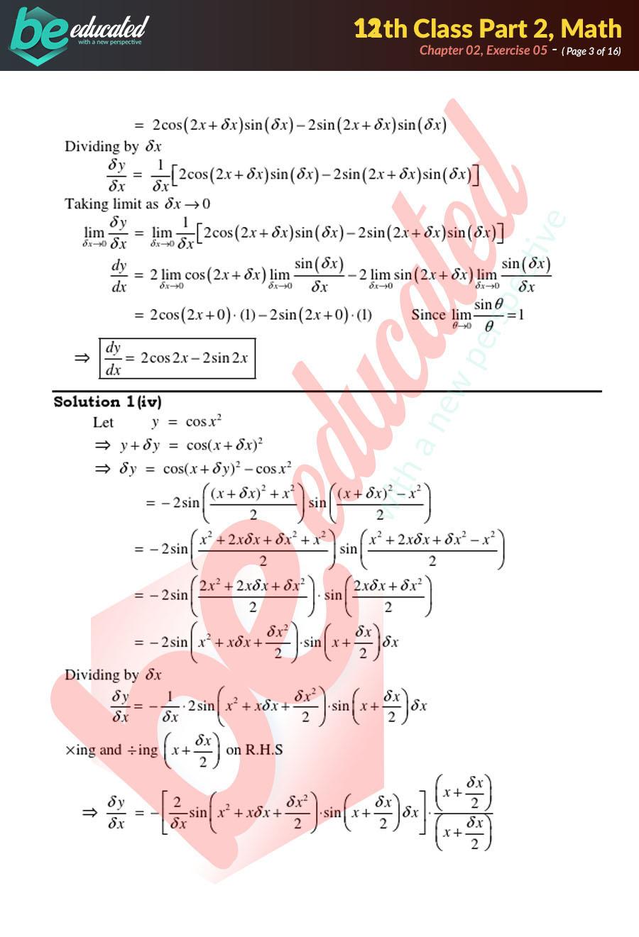 Exercise 2 5 Mathematics FSc Part 2 Notes - Inter Part 2 Notes