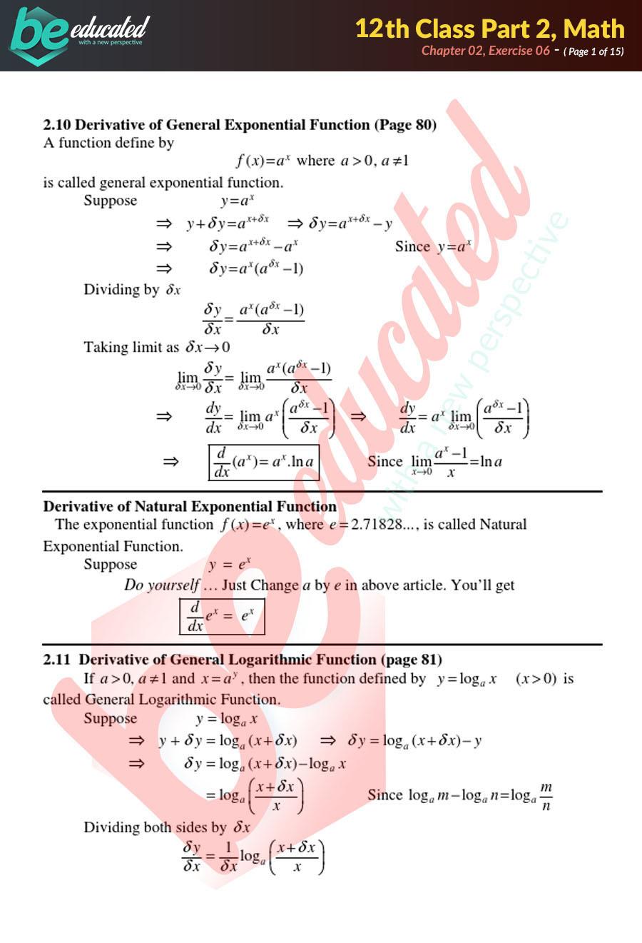 Exercise 2 6 Mathematics FSc Part 2 Notes - Inter Part 2 Notes