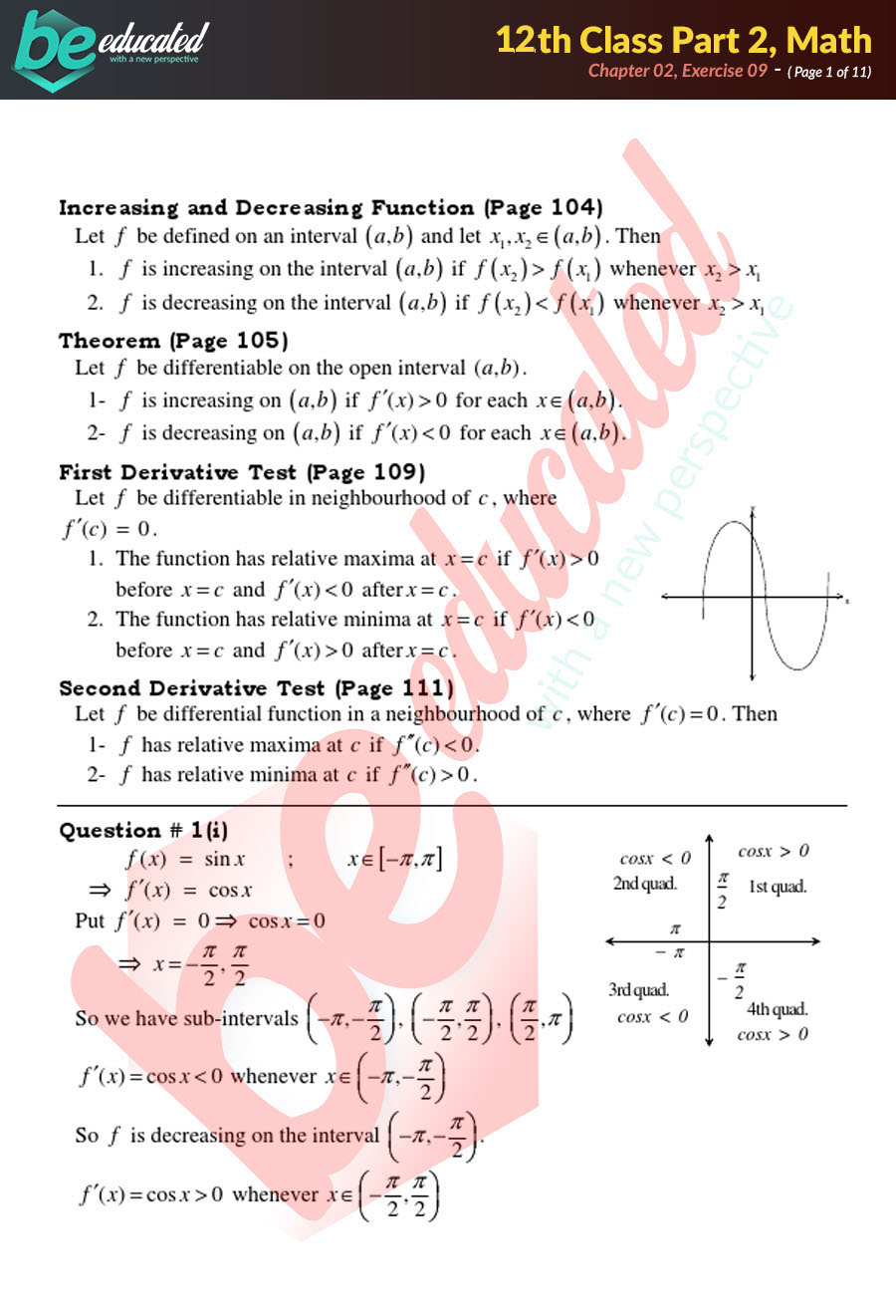 Exercise 2.9 Mathematics FSc Part 2 Notes - Inter Part 2 Notes