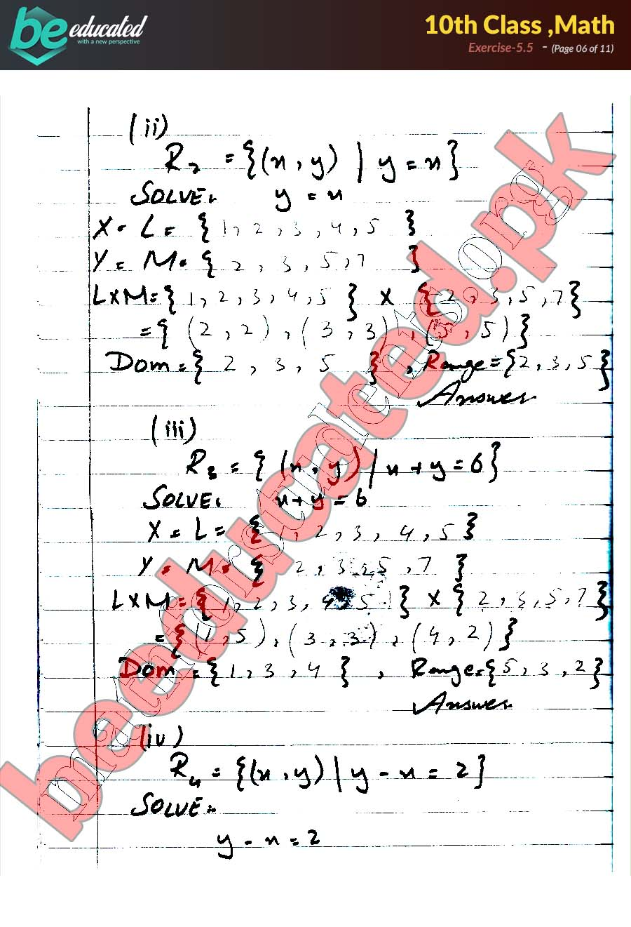 Exercise 5 5 Math 10th Class Notes - Matric Part 2 Notes