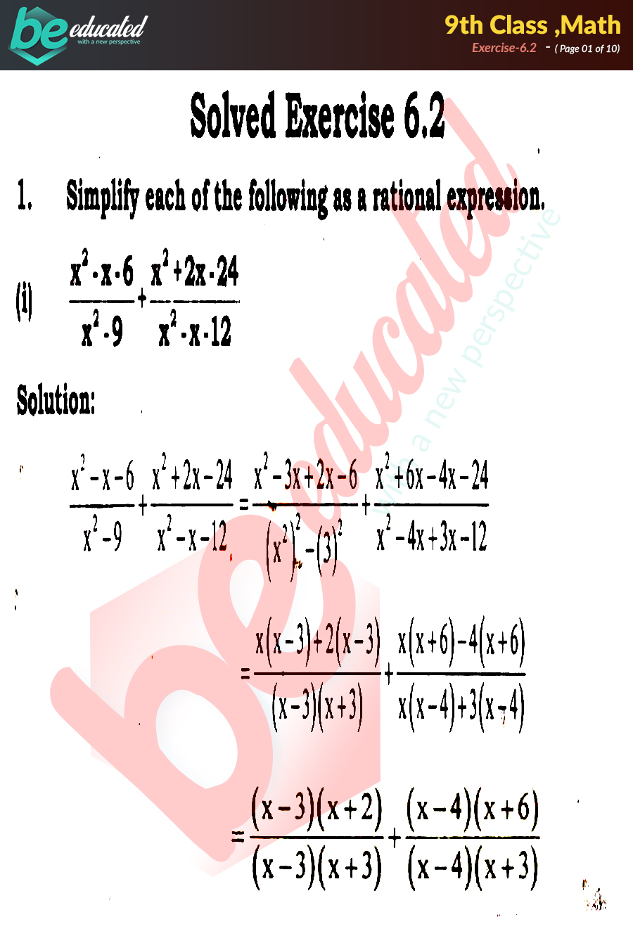 Exercise 6 2 Math 9th Class Notes - Matric Part 1 Notes