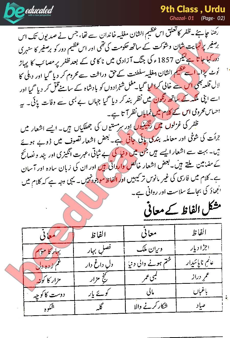 Ghazal 1 Urdu 9th Class Notes - Matric Part 1 Notes
