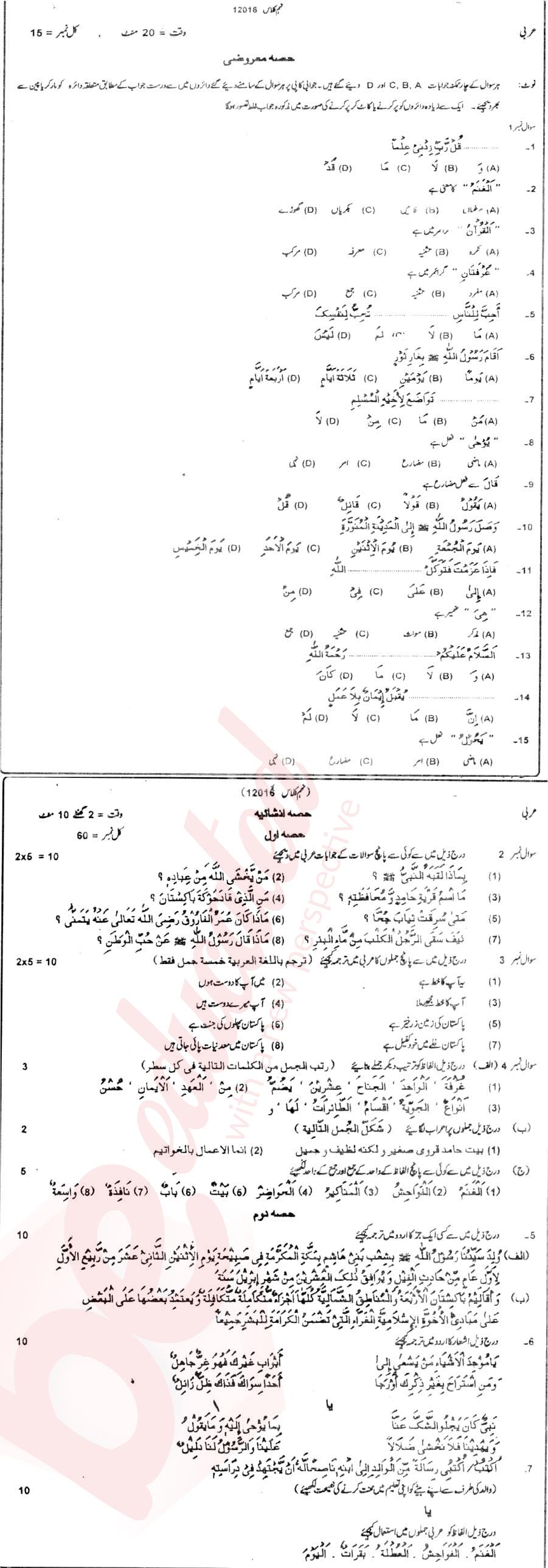 Related 9th Class Past Papers 2018