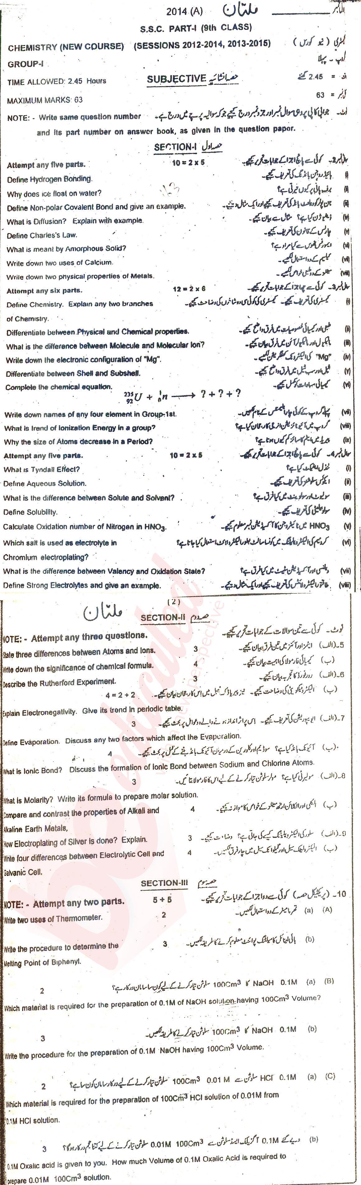 BISE Multan Board 9th Class Past Papers English Medium 2018