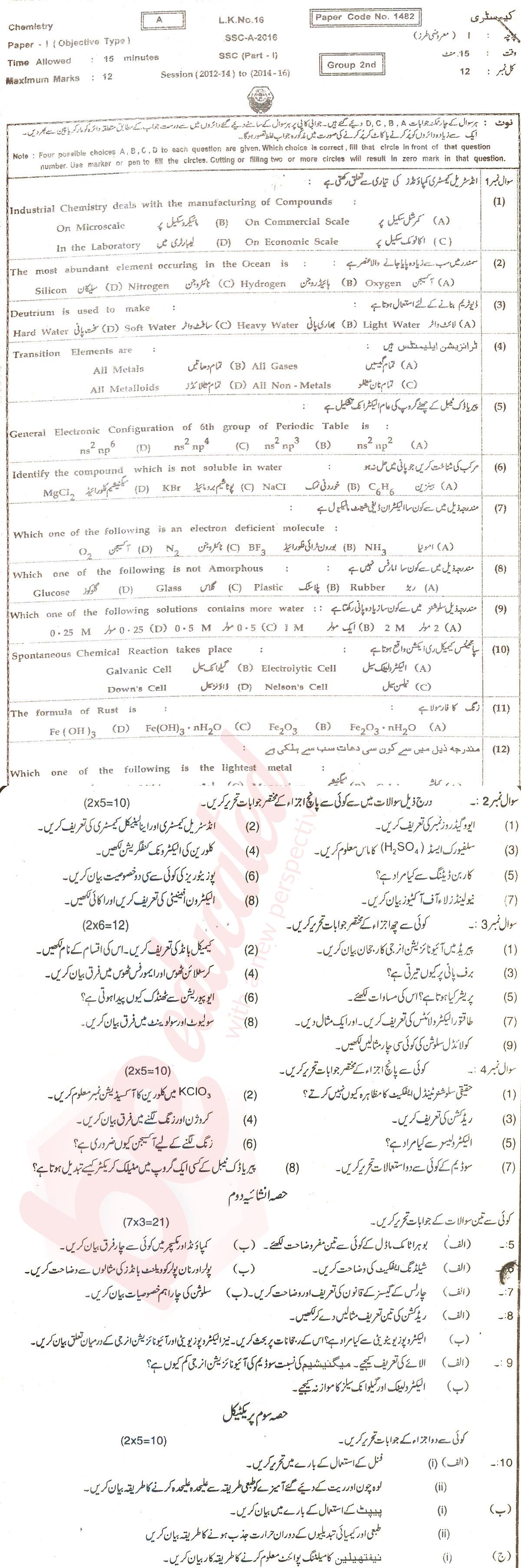 BISE Faisalabad Board 9th Class Past Papers English Medium 2018