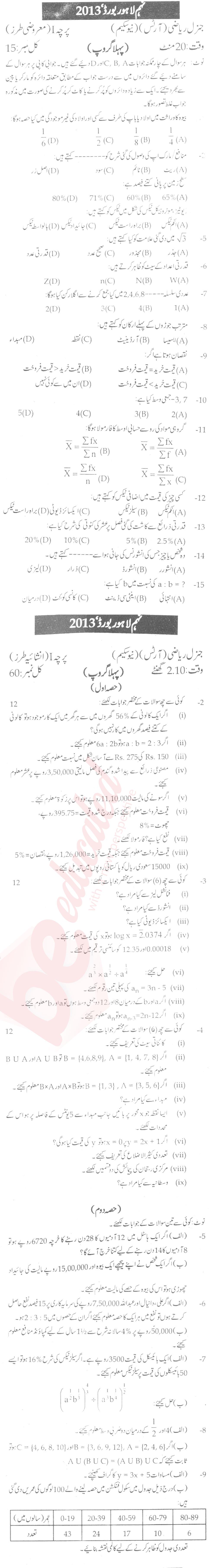 Federal board past papers 9th class general science 2017