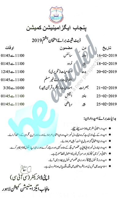 PEC 8th Class Date Sheet latest View Online 2019 - Beeducated